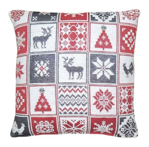 CHRISTMAS THEMED FESTIVE XMAS DESIGN CUSHION COVER GLITTER PATCHWORK